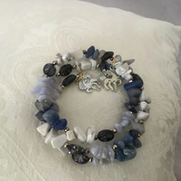 Memory wire bracelet blue white & black