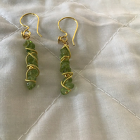 Peridot drop  ear rings with twisted coil