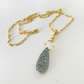 Blue Druzy Pendant on Gold Plated Chain