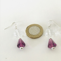 Purple & Clear Crystal Ear Rings