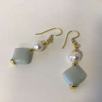 Cultured Pearl  and Amazonite Ear Rings
