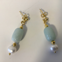 Amazonite and Cultured Pearl Ear Rings.