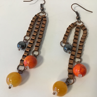 Dangle ear rings Autumn colours with Antique Copper Chain