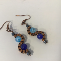 Blue Antique Copper S Shaped Dangle Ear Rings