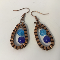 Blue Drop Ear Rings surrounded by Antique Copper Coloured Box Chain