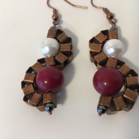 Antique Copper Drop Ear Rings with Dark Red Gems & White Shell Pearls