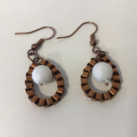 Antigue  Copper & White Drop Ear Rings