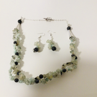 Double strand Necklace & Ear Ring Set in Pale Green & Grey Gemstones
