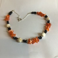 Orange, Black & White Necklace