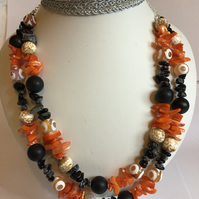 Double Strand Necklace with Orange Shell & Black & White Beads
