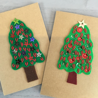 Two Cards - Sparkling Christmas Trees