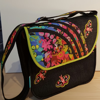 Big Soulder Bag,Colorful flowers and butterflies