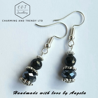 Black Crystal Fashion Drop Earrings