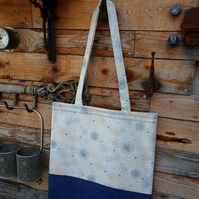 Floral cotton and denim tote style shopping bag