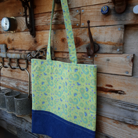Bright cotton and denim tote style shopping bag