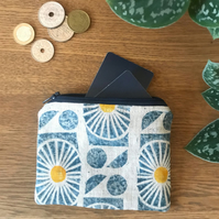 Block Printed Linen Coin Purse - Design Parterre in colour way dusk