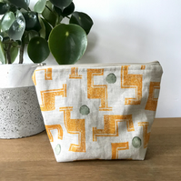 Hand Printed Linen Wash Bag, Makeup Bag, in design Tetris (Turmeric)