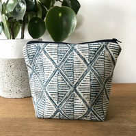Hand Printed Linen Wash Bag, Makeup Bag, in design Trellis (Dusk)