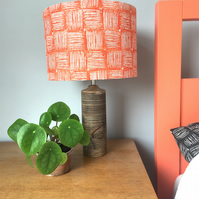 Handprinted Drum Lampshade - 30cm in design Hatch (table or ceiling light)