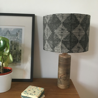 Handprinted Drum Lampshade - 30cm in design Kite (table or ceiling light)