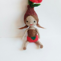 needle felt bulb flower doll,eco toy,collectrible felt art,gardener gift