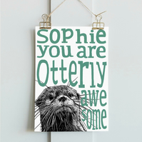 Personalised Otter Print A4