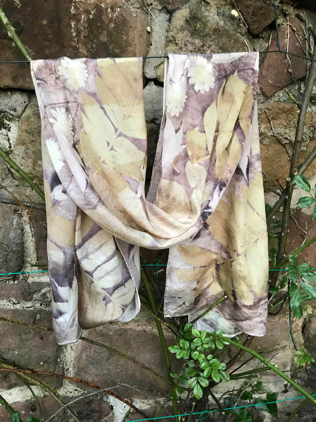 Large silk scarf hand dyed with oakgall nut, handprinted with summer leaves SC26