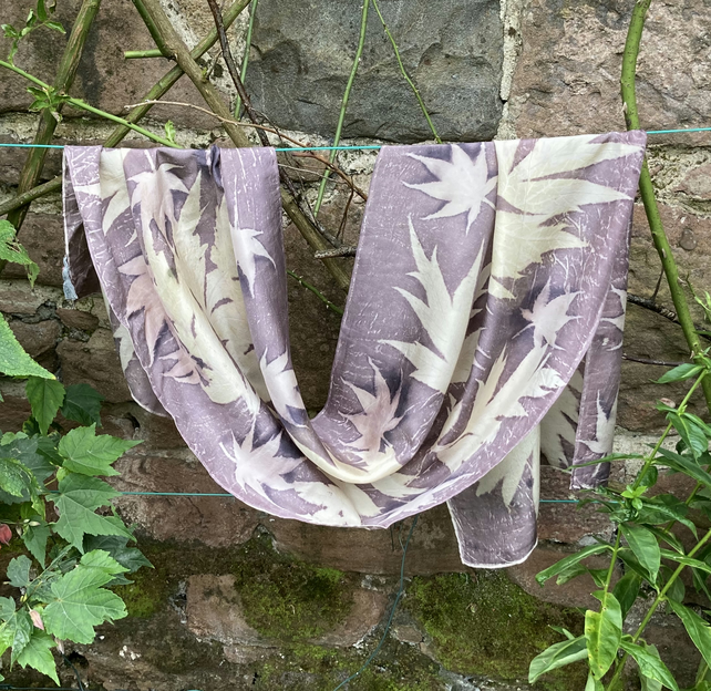 Large silk scarf dyed with oak gallnut, handprinted with tree paeony & acer SC20