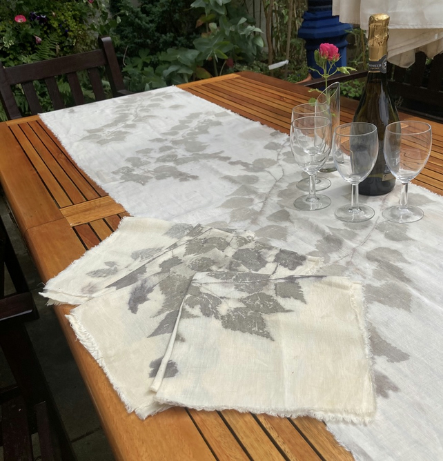 Linen table runner and four napkins, hand printed with silver birch