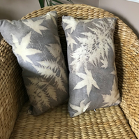 Cushion hand printed with sumac and acer