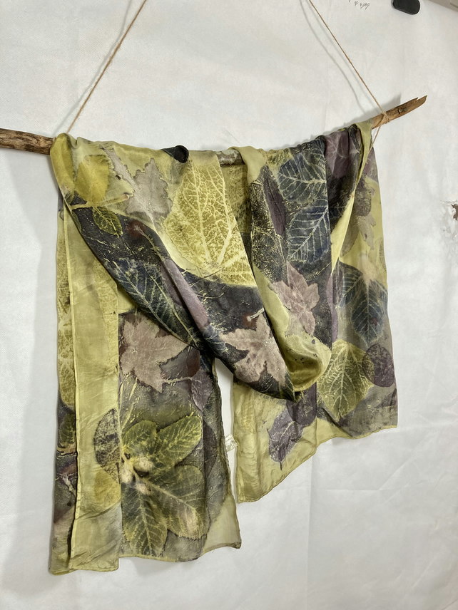 Large silk scarf handprinted with autumn leaves, weld and logwood SC10