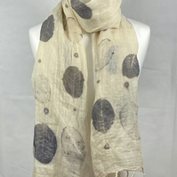 Large handwoven linen shawl, handprinted with cotinus (smoke bush) leaves (SC36)