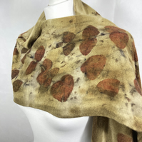 MERINO WOOL AND CASHMERE SCARF PRINTED WITH EUCALYPTUS CINEREA SC44