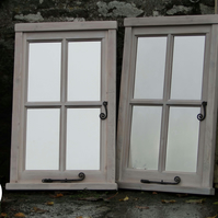 Reclaimed Window Mirror - White four-pane in frame