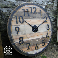 XL Industrial Wall Clock - Reclaimed Wood