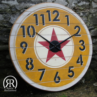 XL Industrial Wall Clock - Reclaimed Wood - Pop Art