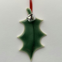 Ceramic Xmas Decoration Holly Leaf with bell