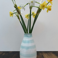 Bud Vase with Peppermint Green Stripes
