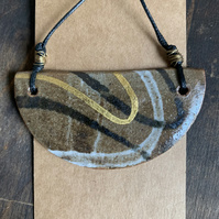 Ceramic Half Moon Necklace decorated with 23.5 carat gold leaf