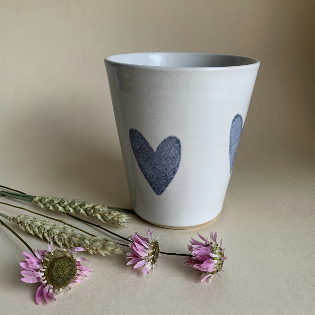 White Beaker with Blue Heart Decoration, Tumbler, Cup