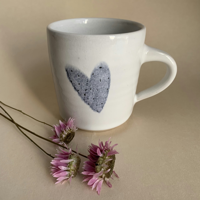 White Mug with Pale Blue Heart decoration, Handmade tea cup or coffee mug