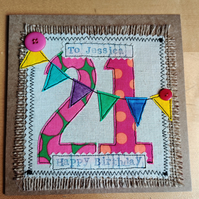 Handmade, fabric, free motion machine embroidery birthday cards