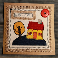 Handmade, fabric, free motion machine embroidery New Home cards