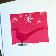 Pheasant in the snow letterpress hand printed card - pink