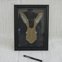 Hand etched and painted hare geometric artwork. Framed Hare Artwork.
