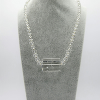 Quartz necklace with sterling silver beads and toggle clasp