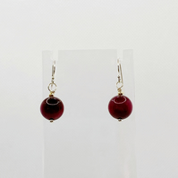 Red tigers eye and sterling silver earrings