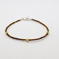 Tigers eye bracelet with gold dusted sterling silver beads and clasp