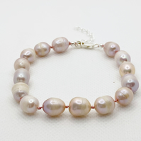Pink Pearl bracelet, hand knotted with sterling silver clasp,