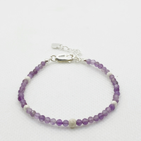 Amethyst and sterling silver adjustable bracelet